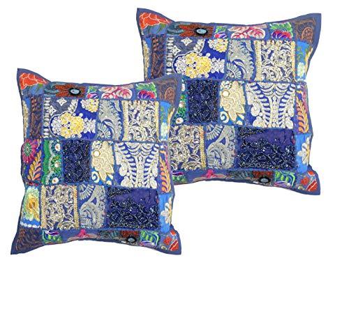 Handicraft Bazarr - Juego de 2 Fundas de cojín cuadradas de 16 x 16 x 16 cm, diseño de Patchwork, decoración del hogar, Bordado, Funda de cojín de Patchwork, Color khambadiya, Cojines étnicos
