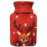 Remebe Juego de calentador de botellas de agua caliente de goma de 1,8 litros, funda de punto extraíble de ciervo rojo, ideal para calentar y enfriar