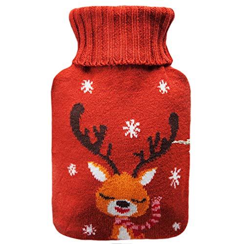 Remebe Juego de calentador de botellas de agua caliente de goma de 1,8 litros, funda de punto extraible de ciervo rojo, ideal para calentar y enfriar