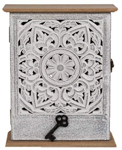 Bada Bing Schlüsselkasten Mit Tür Weißem Blumendekor Holz Grau Schlüssel Ca. 26,5 x 20 cm Aufbewahrung Kasten Geschenk Trend Wanddekoration Deko 16