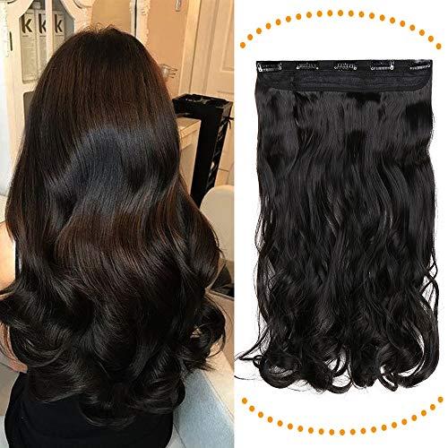 24 Pouces Monobande Extension A Clip Cheveux Ondulé - Noir Naturel - Une Pièce Extension A Clip Cheveux Synthétique Avec 5 Clips One Piece Clip In Hair Extension