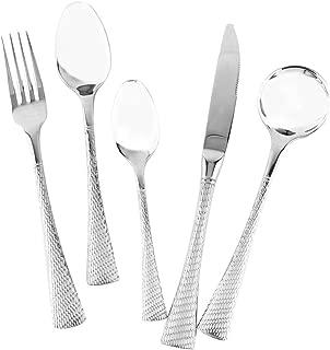 Blite Elegant Hammered Silverware Set Mirror Stainless Steel Flatware Cutlery Serving Set Classic Design 18/10 Steel Table Forks and Spoons Utensils Set for Home/Hotel/Restaurant Dishwasher Safe