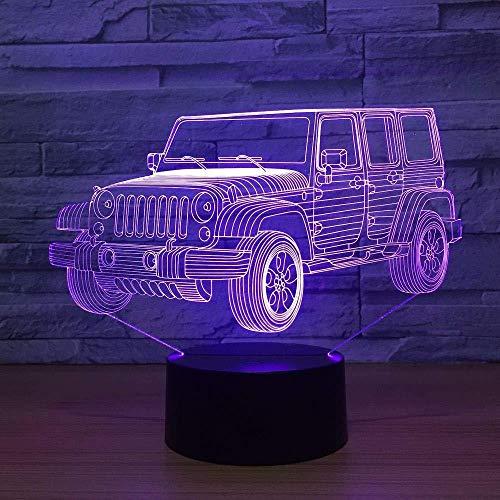 3D Illusionslampe Nachtlicht Auto Jeep Schreibtisch Für Kinder Kinder Weihnachtsspielzeug Neuheit Anime Wohnkultur Mit Usb-Aufladung, Farbenfrohe Farbwechsel-Touch-Steuerung
