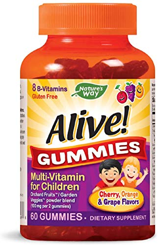 Nature's Way Alive! Children's Gummy Multivitamin, Fruit and Veggie Blend (100mg per serving), Gluten Free, made with Pectin, 60 Gummies