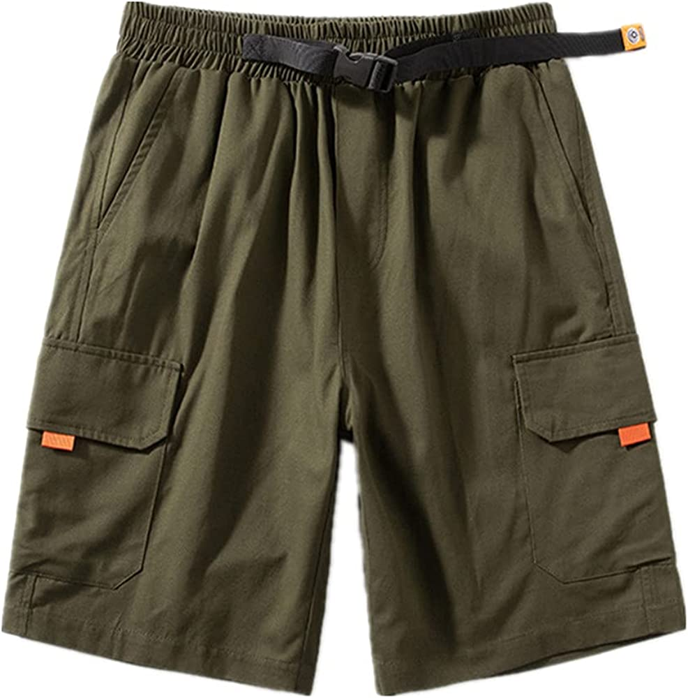 NP Summer Men's Orange Pocket Cargo Shorts Men Baggy Cotton Linen Breathable Mens