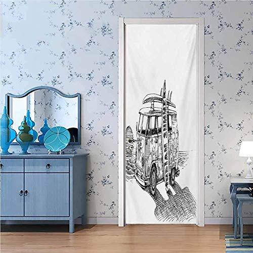 Ejiawj Etiqueta De La Puerta 3D 95 X 215 cm Abstracto Negro Coche Patrón Pegatinas De Puerta Papel Tapiz Sala De Estar Cocina Dormitorio Decoración del Hogar Tatuajes De Pared Impermeable Se Puede Mo