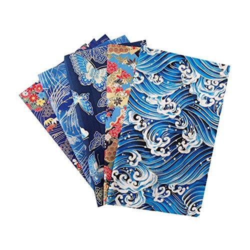 Martin Kench 5 Stück Patchwork Stoffe Baumwollstoff Set, Japanischer Stil Einhorn Blumen, Stoffreste Paket Stoffpaket, DIY Baumwolltuch (Stil I)