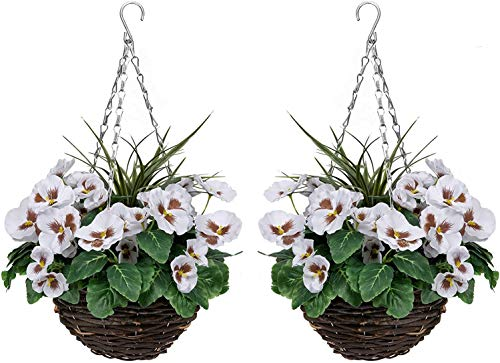 GreenBrokers 2 x Artificial White Pansies and Decorative Grasses (Set of 2), Round Hanging Baskets