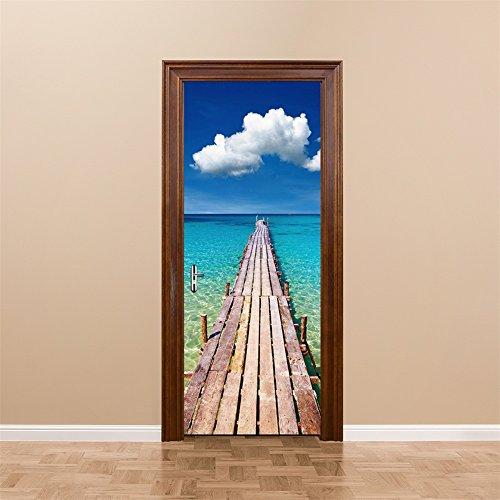 Fymural 3D Door Wallpaper Murals - Wall Stickers-Beach for Home Decoration Self-Adhesive Vinyl Removable Art Door Decals 30.3x78.7