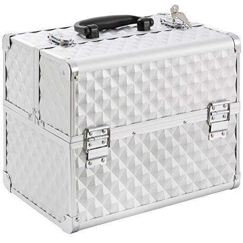 Arebos Kosmetikkoffer | 15L | 5 Fächer | Aluminium | Diamant-Muster | inkl. Schloss & Schlüssel | 2 ausklappbare Etagen | Samteinlage | 32 x 27 x 22 cm | Silber
