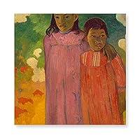 INOVポール・ゴーギャン ピティティエナ 1892年 キャンバス アートパネル アートフレーム フレーム アートボード 部屋飾り 壁掛け ソファの背景絵画 木枠セット(40*40cm)