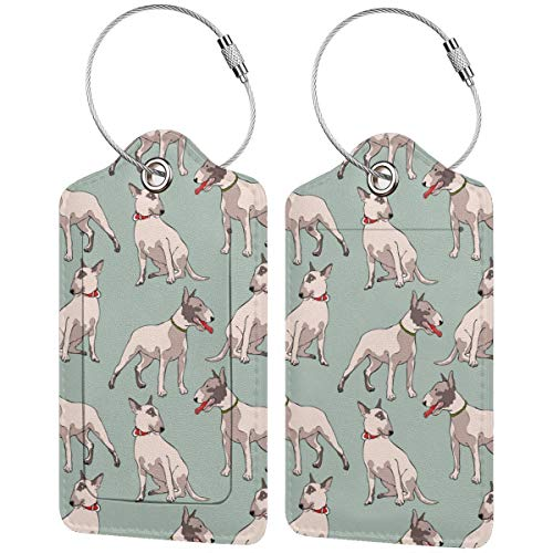 Lindo Bull Terrier perro personalizado cuero maleta de lujo etiqueta Set viaje...