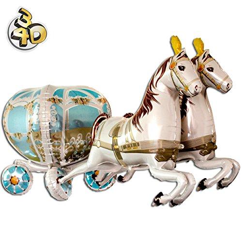 PartyMarty Riesiger 3D Folienballon Hochzeitskutsche & Pferde 190cm XXL - Hochzeit Heiraten Pferdekutsche Cinderella Ballon Luftballon Riesenballon