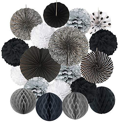 WFZ17 19 piezas decoración para colgar, abanico de papel, flor con pompón, bola de panal de abeja, decoración de bodas y festivales Negro