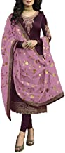 14 Feb Fashion Store Ready to Wear Women's Designer Satin Jorjet Chudidar Salwar Suit with Net with Embroidery Work Dupatta
