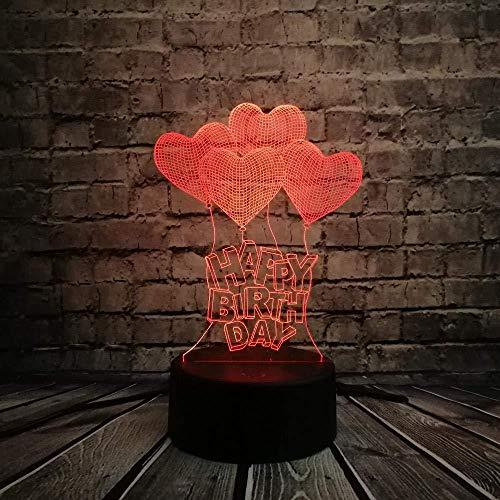 Romantische liefde hart ballon licht idee huwelijk familie decoratie kleurrijke nachtlamp cadeau illusie 16 kleuren nachtlampje 3D illusie lamp LED tafel bureau decoratie 16 kleuren touch cont