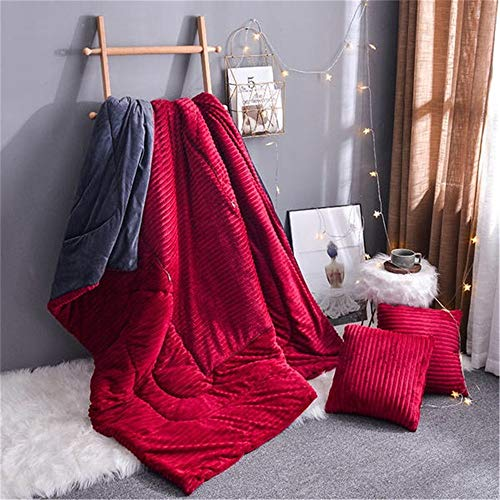 Travel Blanket and Pillow Thickened Crystal Velvet Pillow Quilt Dual-use Student Office Nap Blanket Car Sofa Cushion Bedroom Pillow PremiSoft 2 in 1 Airplane Blanket ( Color : Red , Size : 50x50cm )