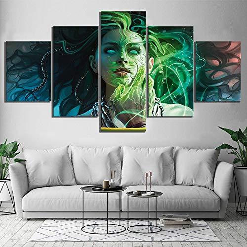 JSBVM 5 Panel Sammelkartenspiel Magic The Gathering Eternal Masters Poster Gemälde Fantasie Wandkunst für Wohnkultur,A,30×50×2+30×70×2+30×80×1