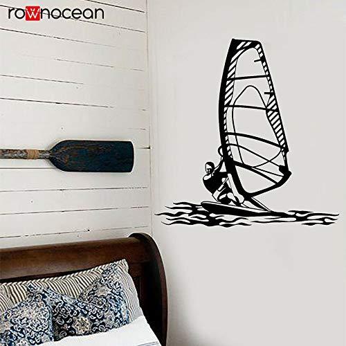 zqyjhkou Windsurf Deportes acuáticos Windsurfista Estilo de Playa Pegatinas Vinilo Decoración del hogar para el Dormitorio Interior Mural Calcomanías de Corte Papel Pintado 1 42x43cm