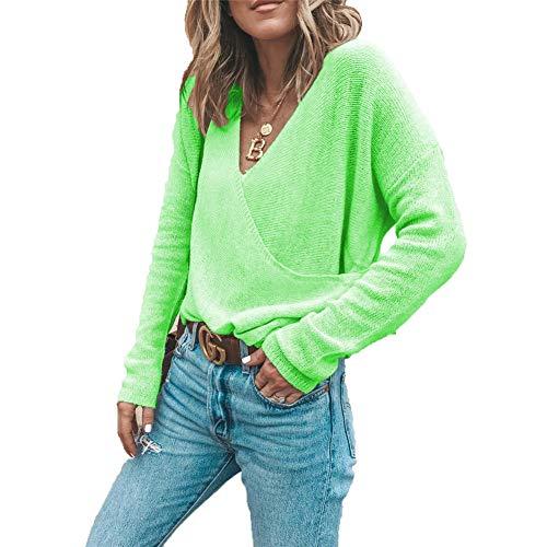 ZFQQ Herbst und Winter Damen lässig einfarbig V-Ausschnitt Langarm Pullover Pullover Top