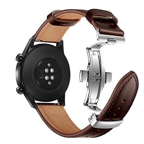 AISPORTS Compatible con Garmin Vivoactive 4 Correa de piel auténtica de 45 mm, 22 mm de liberación rápida, correa de repuesto para Huawei Watch GT 2 Pro/GT 2e/GT 2 46 mm/GT