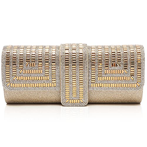 Labair Evening Bag and Clutches for Women Sparkle Clutch Purse with Rhinestones Wedding Party Handbag. (Gold)