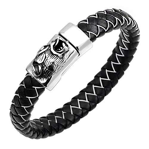 Armband leer mode mannen en vrouwen punk legering decoratie weefsel wolf ladder trend persoonlijkheid geschenk creatief unieke retro pop zwart en wit