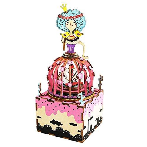3D Puzzle en Bois Cartoon Princess Boîte De Musique, Kit De Construction pour Les Enfants Ou Les Jouets pour Adultes, 79 * 79 * 198Mm