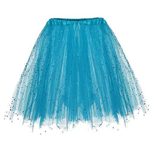Falda de Tutu Mujer,SHOBDW Niños Princesa Pettiskirt Regalo de cumpleaños Sólido Paillette Elástico 3 Capas Fluffy Mini Falda Corta Adulto Rendimiento Traje Baile Falda(Cielo Azul)