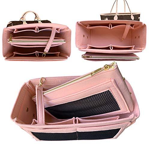 Purse Organizer Insert, Felt Bag organizer Liner Shaper Bag Handbag Tote Shaper,Middle zip bag For Speedy Neverfull (X-Large, RoseBallerlne)