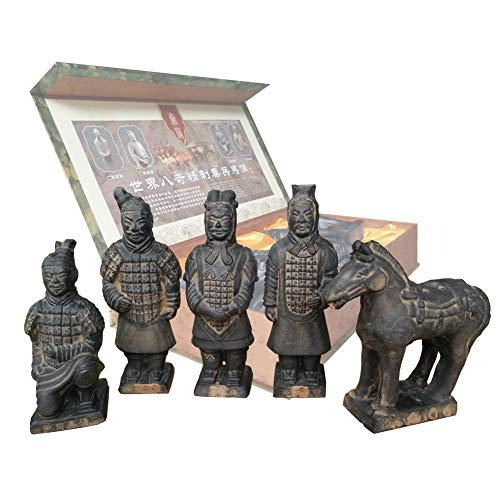 Terracotta Warriors, Cina dinastia Qin terra cotta Warriors scultura casa tavolo visualizzazione display multi presentazione regalo, altezza 17cm., Set of 5