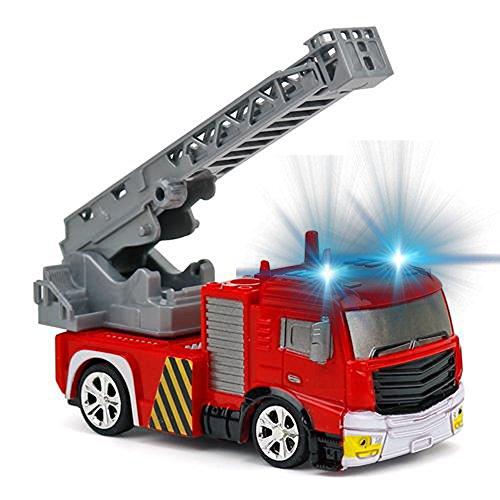 RC Auto kaufen Feuerwehr Bild 4: Brigamo Mini RC Feuerwehrauto mit Blaulicht, Ferngesteuertes Auto im Deko Feuerlöscher, Feuerwehr Leiterwagen, ideales Geschenk für Feuerwehr Fans (40 Mhz)*