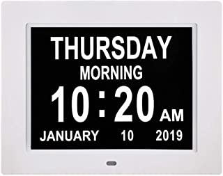 Digital Calendar Day Clocks Extra Large Non-Abbreviated Day&Month.Perfect for Seniors + Impaired
