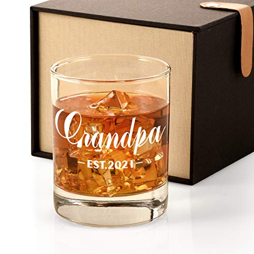 2021 New Grandpa Gift, Promoted to Grandpa Est. 2021 Whiskey Glass Gift for...