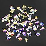 PENVEAT Strass di Arte del chiodo 20 pezzi di Cristallo a Forma di Piatto AB Teardrop Marquise Glass Flame Pietre colorate per la decorazione di unghie 3D, Forme Della miscela, 200 pezzi