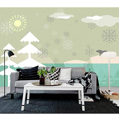 3D Photo Wallpaper Mural,Kids Room Polar Bear Cartoon Painting Picture Sofa TV Background Wall Non-Woven,Sticker 208cm (W) x146cm (H)