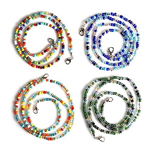 Zeaye Cordón para gafas de 4 piezas, una cómoda cadena de vidrio con un clip, adecuado para hombres, mujeres, niñas, niños y ancianos.