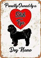 カスタム犬の名前 - シーズー 2 ヴィンテージルック 8x12 インチ金属錫サインレトロ - 壁の装飾プラークポスター メタルプレートブリキ 看板 2枚セットアンティークレトロ