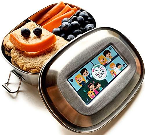 Dr. Trusty Healthy Lunchbox - kleine Brotdose für Kinder - Entwickelt vom Zahnarzt - Gesund Essen in der Schule - Edelstahl 3 Fächern