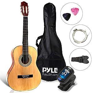 "Pyle Beginner 36"" Classical Acoustic Guitar-3/4 Junior Size 6 String Linden Wood Guitar w/Gig Bag, Right, Natural (PGACLS82)"