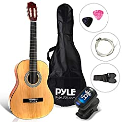 "36"" BEGINNER GUITAR SET: Pyle brings you a complete all-in-one acoustic guitar set, everything you need to start playing! The guitar comes with a gig bag case, pitch pipe tuner, spare strings, pearloid picks, cleaning cloth, and a gift card JUNIOR SC..."