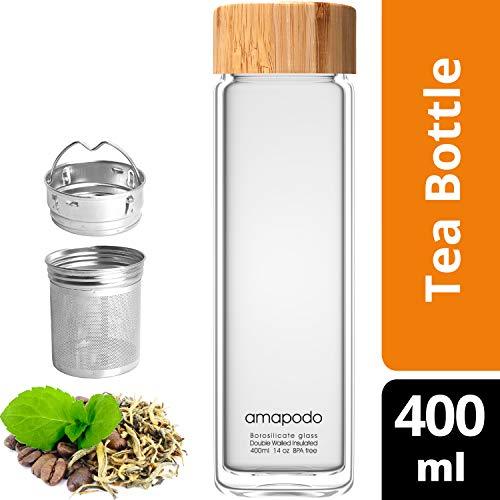 amapodo theefles met zeef to go - Dubbelwandig geïsoleerd theepot met zeef - drinkfles 400 ml