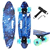 Xapwell Skateboard, Complete Mini Cruiser Skateboard 22'', for Teens Beginners Professional, with Colorful LED Lights, PU Wheels and Matching T-Tools