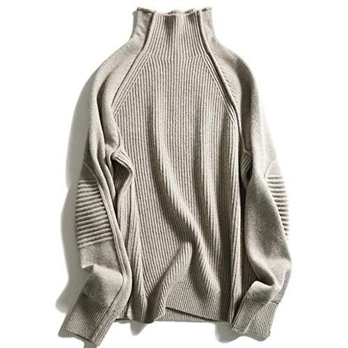 Frauen Herbst und Winter hohen Kragen Cashmere-Pullover (Kamel, Medium)