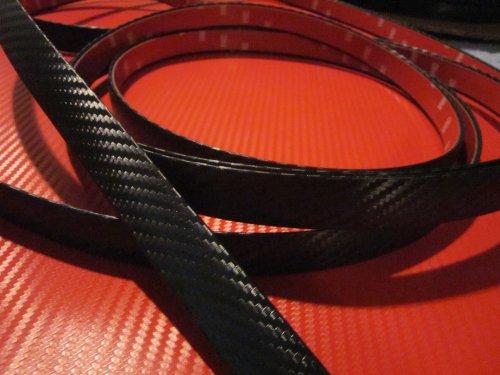 TRUE LINE Automotive Universal 3/4'' Stick On Black Carbon Fiber Molding Trim (6 Feet)