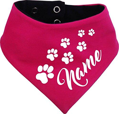 KLEINER FRATZ beidseitiges Multicolor Hunde Wende- Halstuch (Fb: pink-Navy) (Gr.2 - HU 31-35 cm) mit dem Namen Ihres Tieres