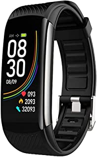 OUTAD Smart Wristband Fitness Tracker, Temperature Heart Rate Blood Oxygen Pressure, Touch Control Bracelet Watch Calorie Pedometer Sleep Monitor, Bluetooth Push Alert, IP67 Waterproof