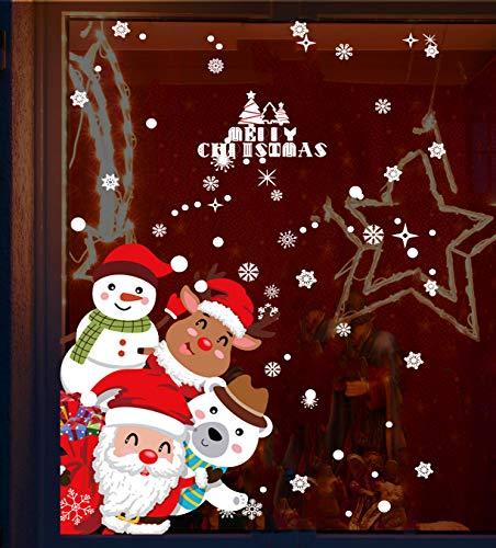 Pegatinas de Navidad, Impermeable, Pegatinas de Navidad monigote de nieve fiesta extraíbles, Hacen que el Hogar esté lleno de Ambiente Navideño,regalo de Navidad (rojo-5)