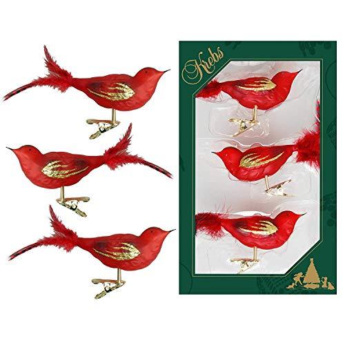 Dekohelden24 Lauschaer Christbaumschmuck - 3er Set Vögel auf Clip, rot, ca. 11 cm.