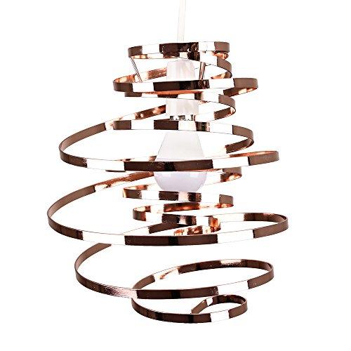 MiniSun – Metall Lampenschirm in verdrehter Form, Kupfer – Lampenschirm Pendelleuchte Metall – Deckenleuchte Lampenschirm Metall – Lampenschirm Metall Kupfer (Metall, 23 cm)